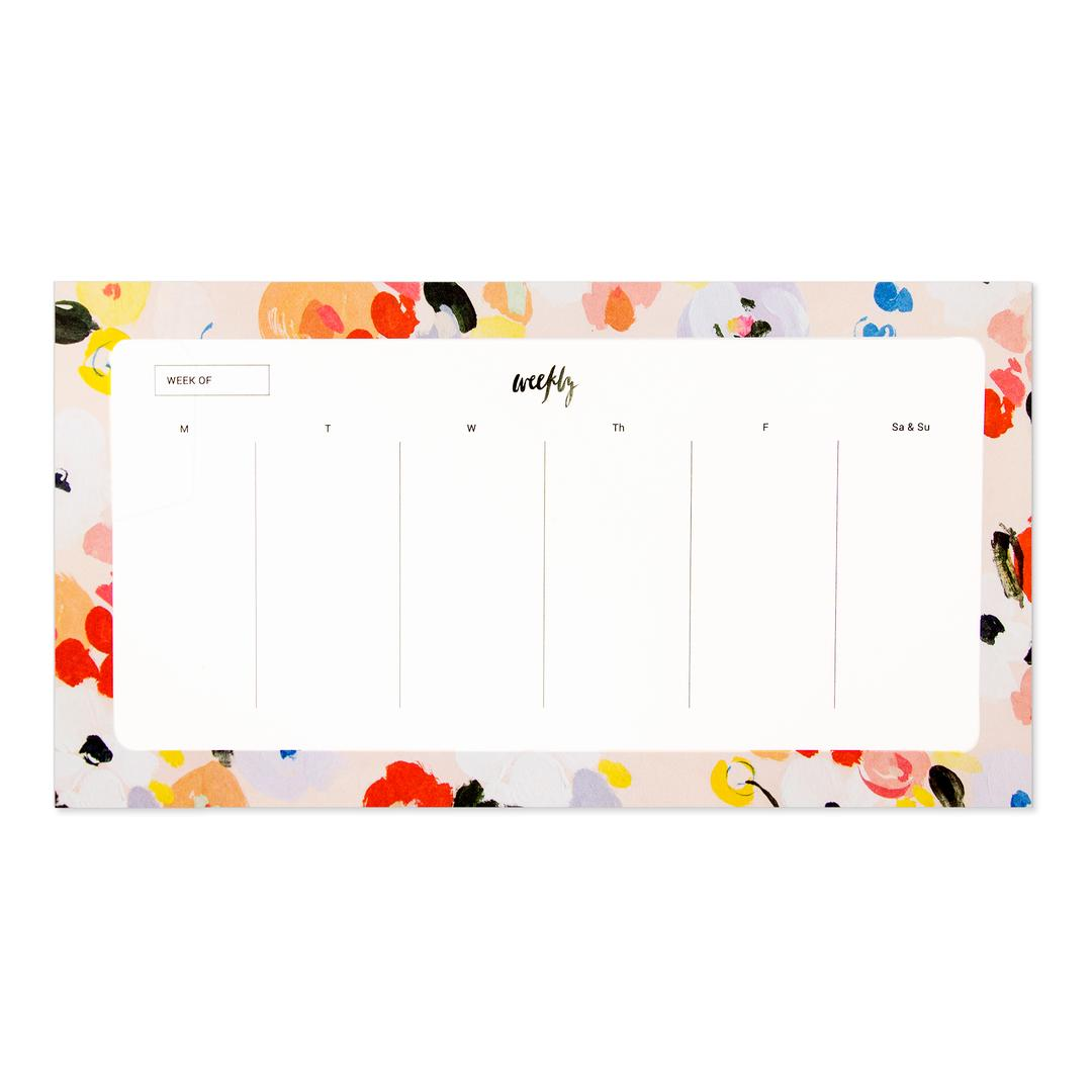charlie weekly agenda notepad from Our Heiday with painterly floral border