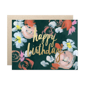 coral florals birthday card from Our Heiday, dark romantic painterly florals with gold script writing on top