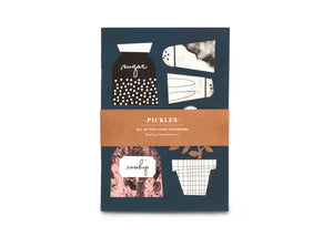 Pickles Notebooks / Dark Emerald Herbs & Pink (Set of 2), Darling Clementine