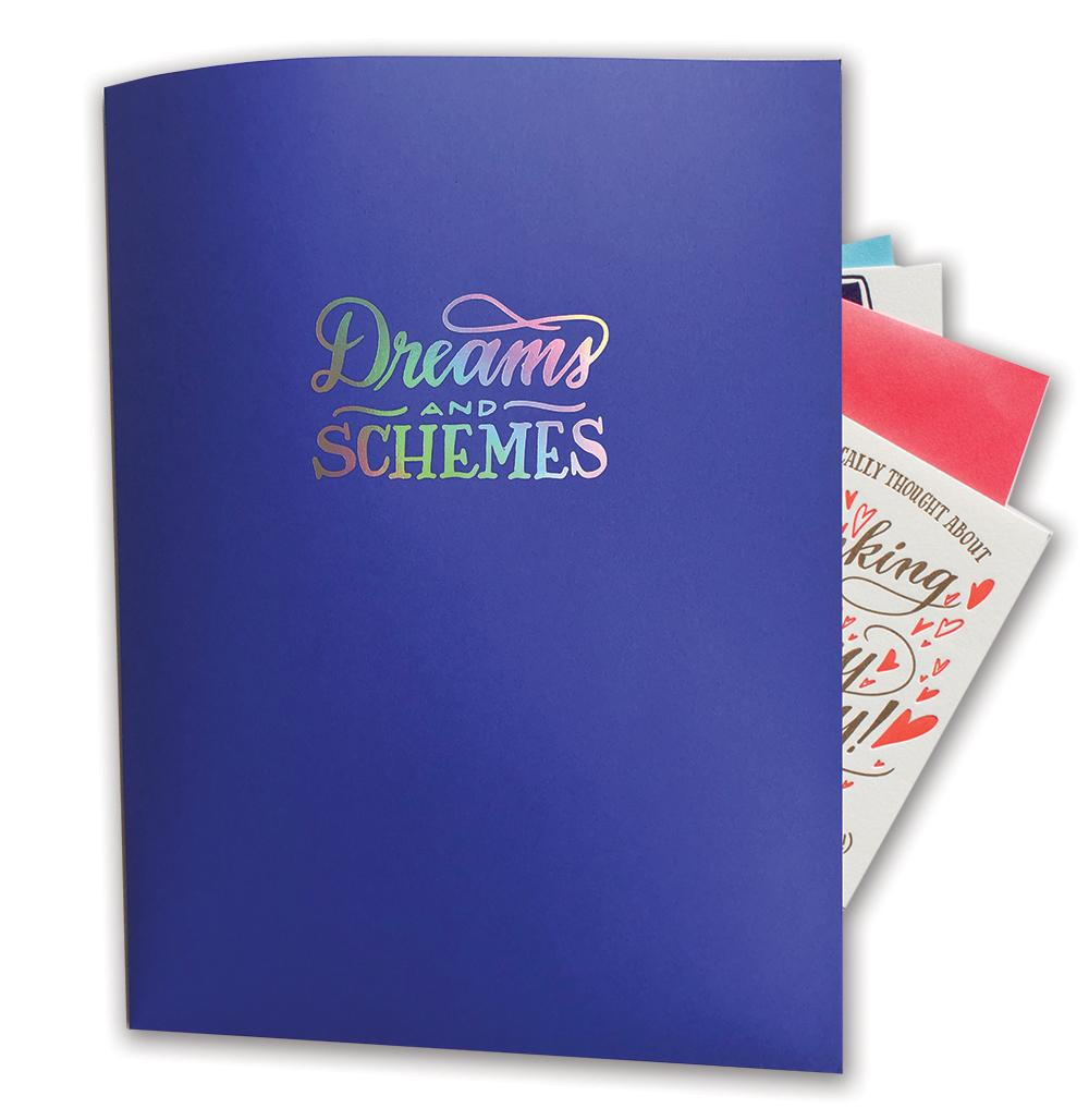 Dreams Schemes Pocket Folder, Ladyfingers Letterpress