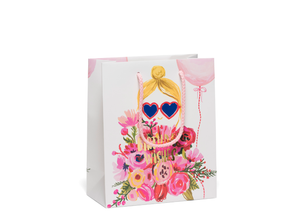 Heart Glasses Foil Gift Bag, Red Cap Cards