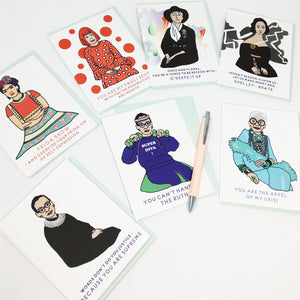 A set of seven Lovely Lady Puns Greeting Cards featuring RBG, Frida, Iris Apfel and more