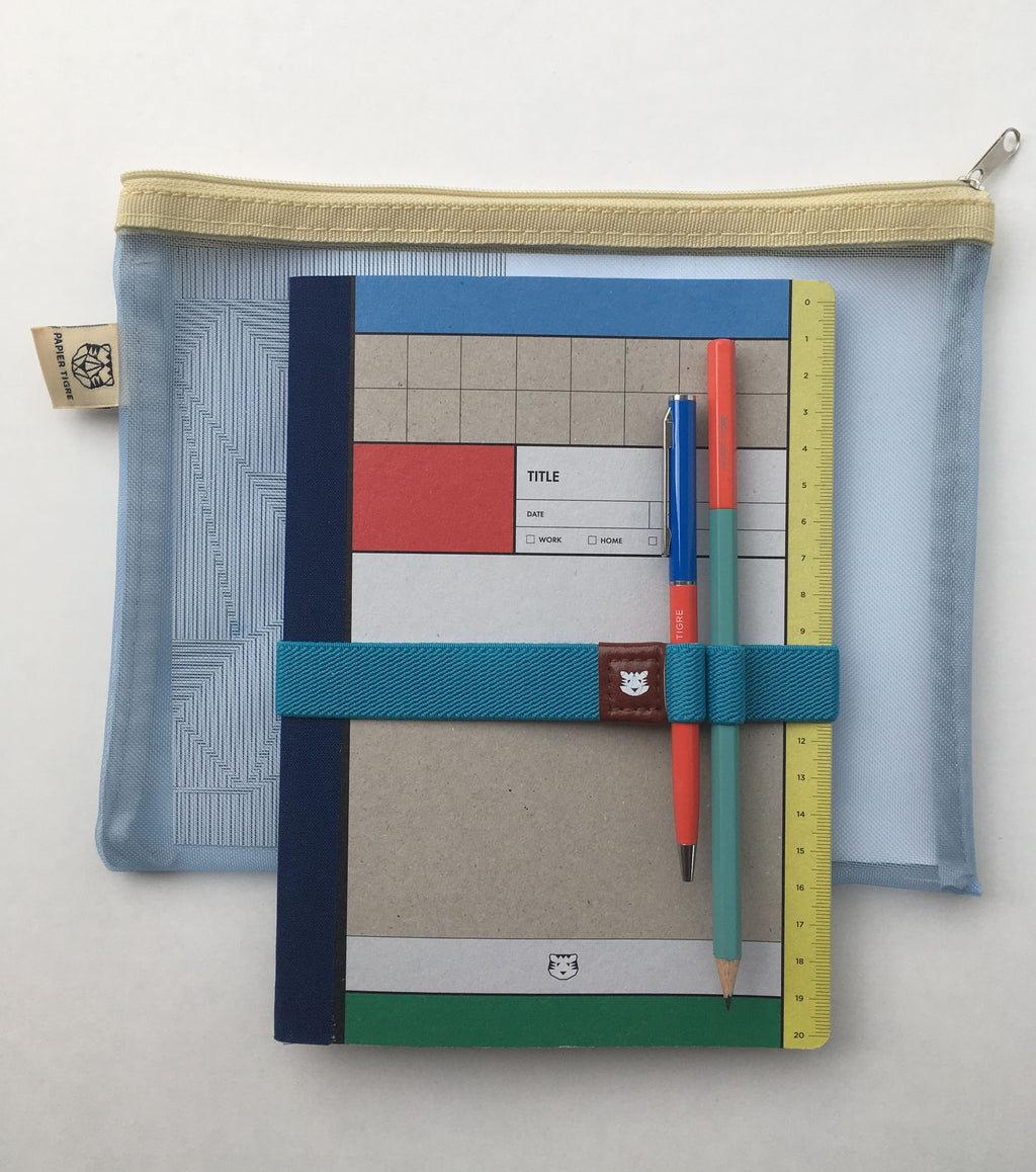 papier tigre module stationery kit including notebook pouch strap pen and pencil primary colors