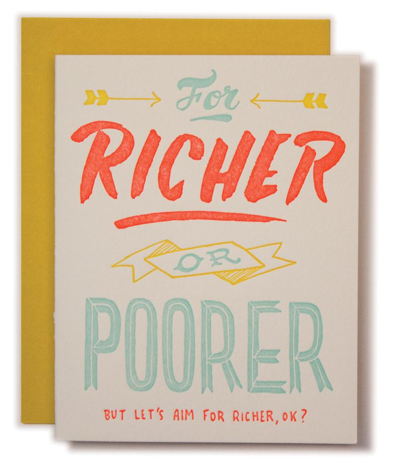 For Richer or Poorer, Ladyfingers Letterpress
