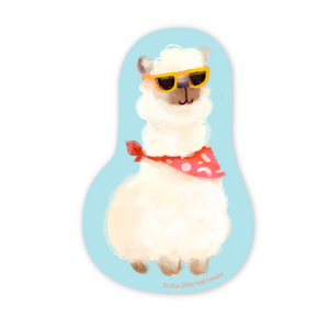Hipster Alpaca Vinyl Sticker, The Little Red House
