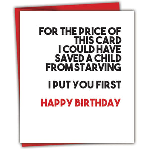 For the Price of This Card, Black, White & Red All Over