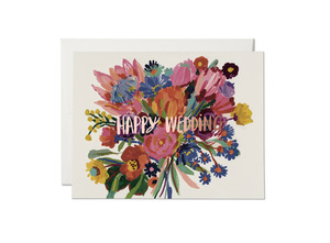 Happy Wedding Flowers, Red Cap Cards