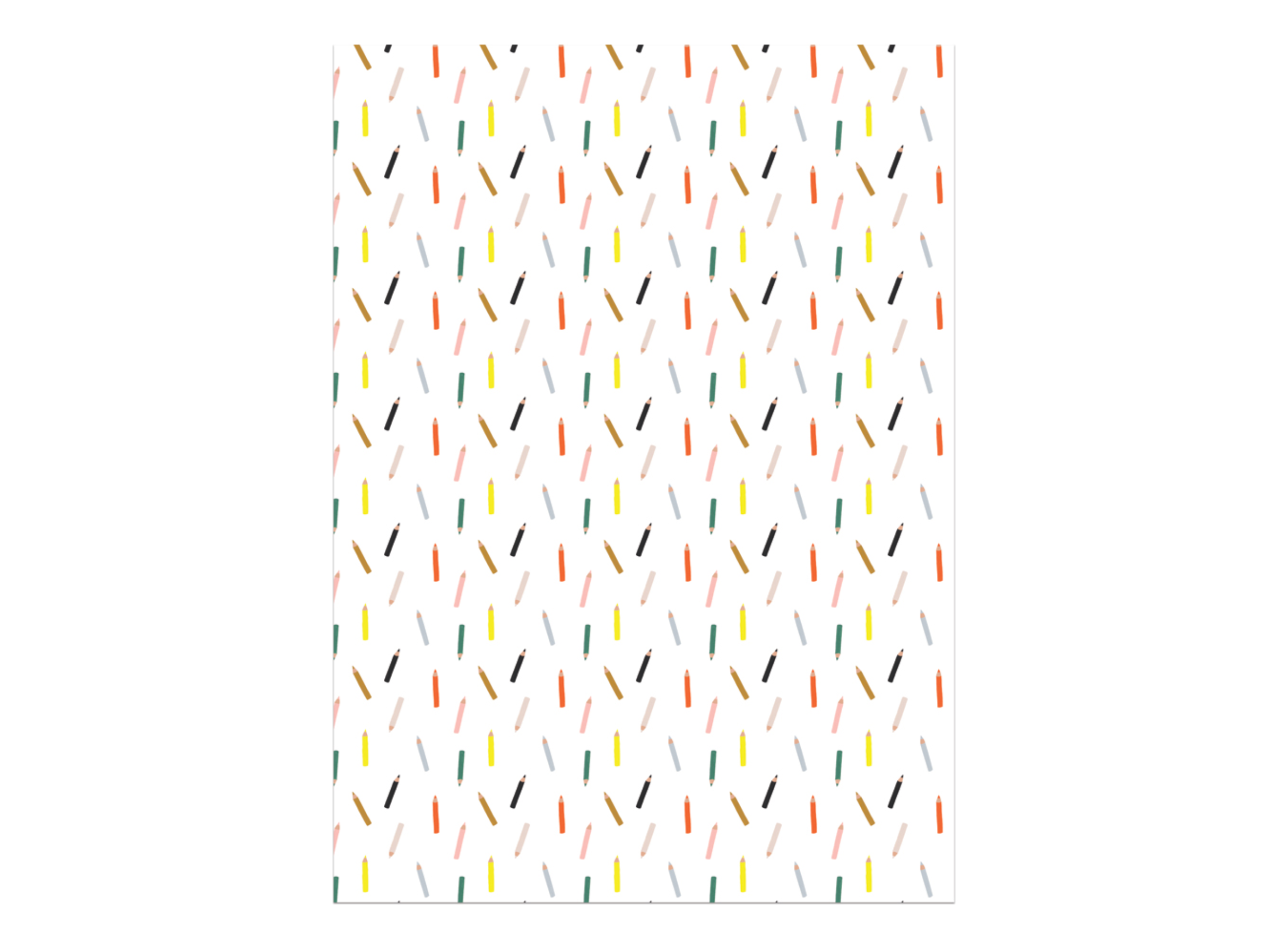 Pencil Wrapping Paper, Red Cap Cards