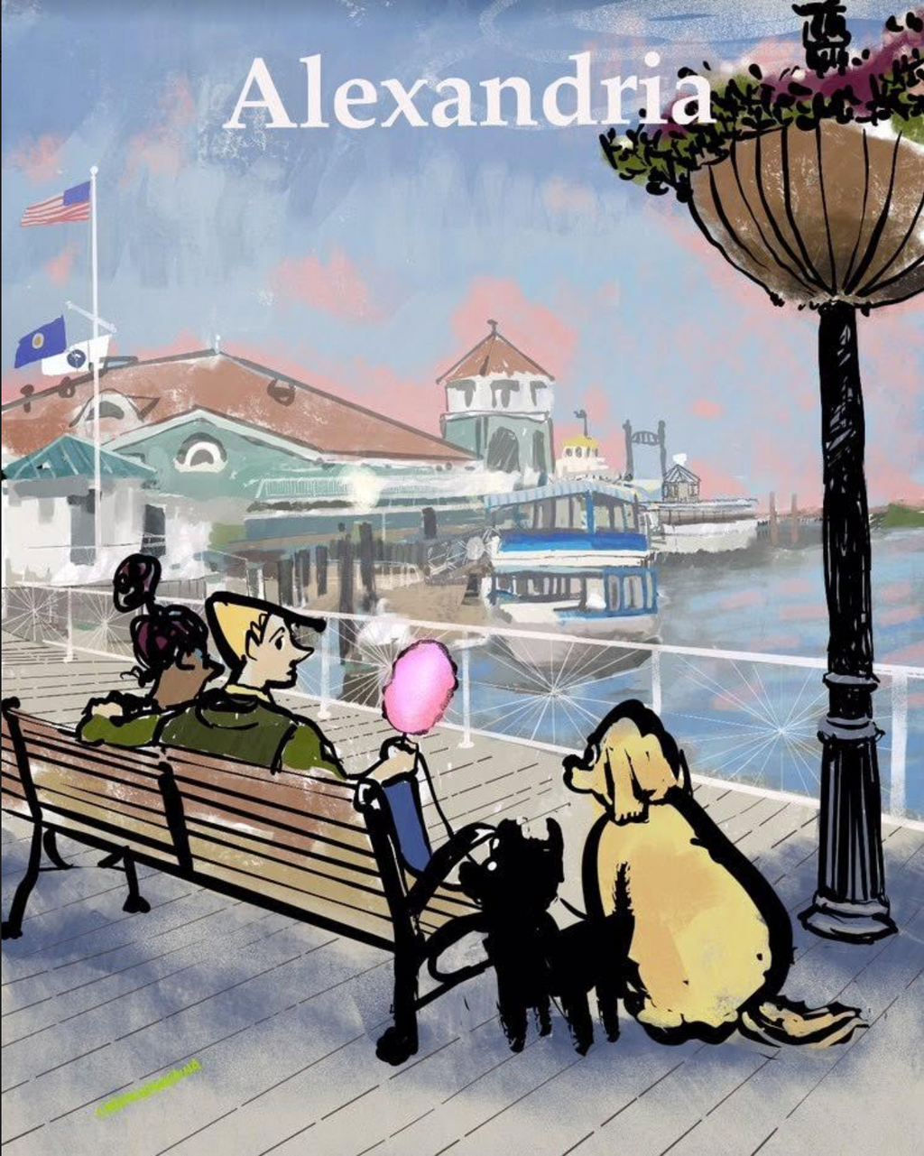 A painting on Alexandria, Virginia's waterfront. A couple is sitting on a bench that overlooks the Potomac River, enjoying cotton candy and their dogs are beside them. Carmonamedina, Alexandria
