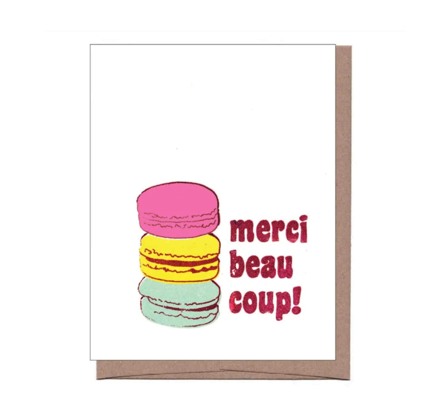 Merci Macarons Thank You Notes (Set of 6), La Familia Green