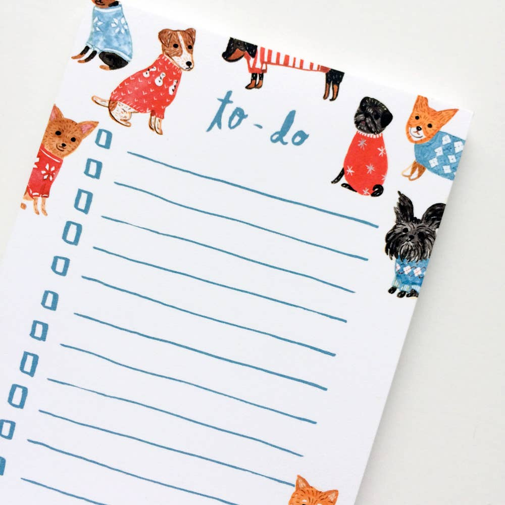 Dogs In Sweater Notepad, Honeyberry Studios