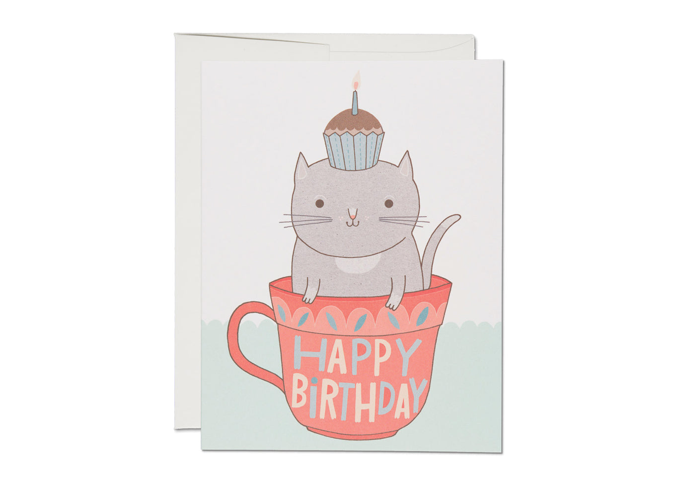 Teacup Cat Birthday, Red Cap Cards