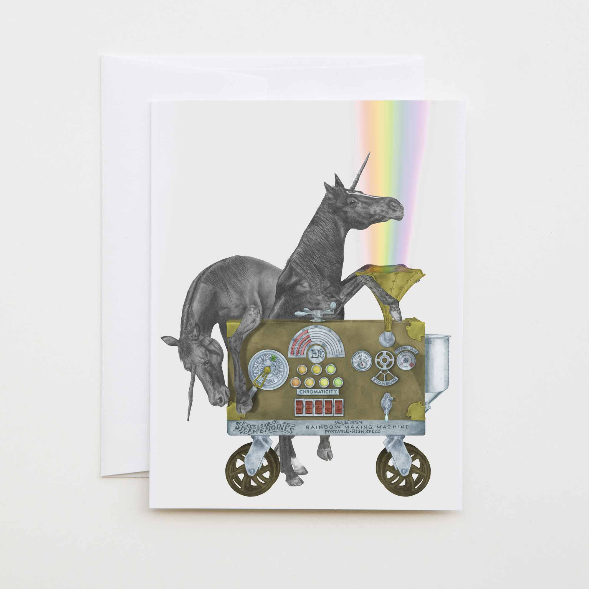 central and gus card two unicorns with a fantastic rainbow machine, named Ruby Jezebel and Jackpot Flame