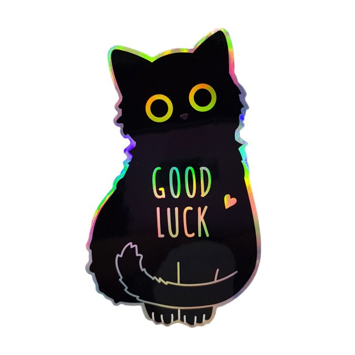 Good Luck Cat Holo Sticker, Compoco