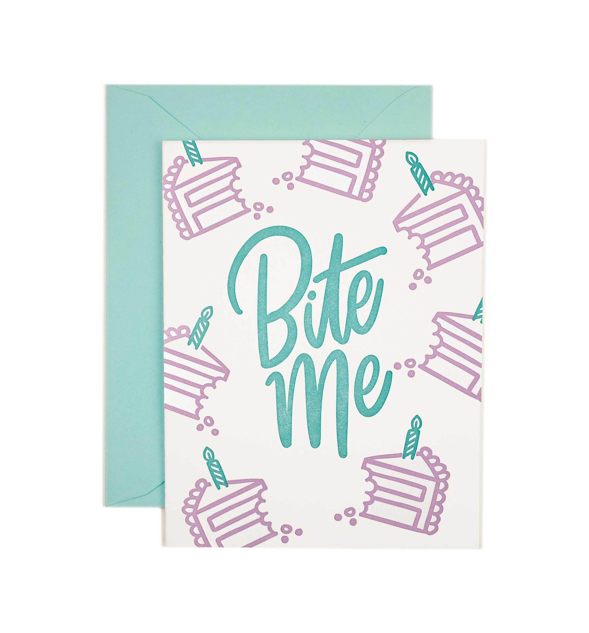 bite me, birthday card, letterpress, friendly fire