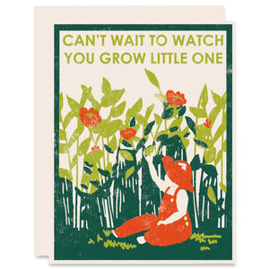 Can't Wait to Watch You Grow Baby Card, Heartell Press