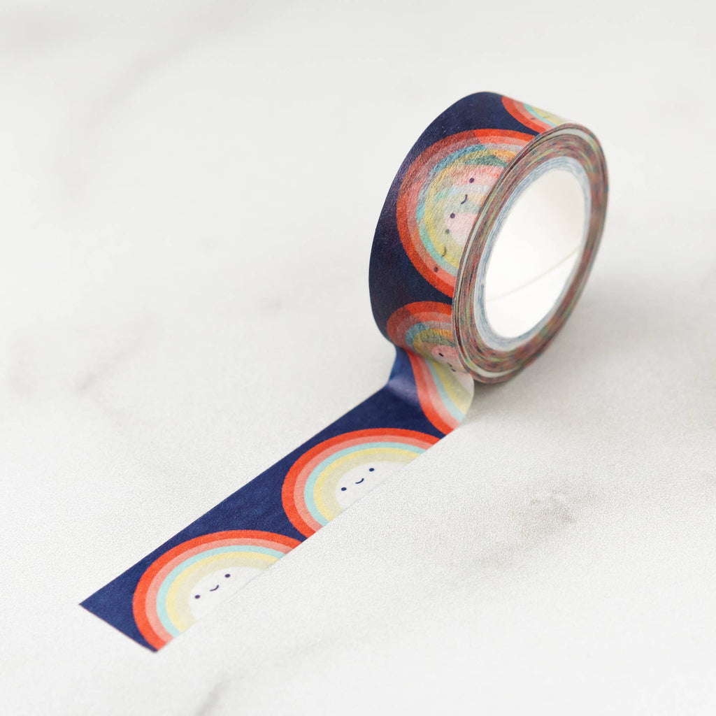 ilootpaperie washi tape, navy background rainbows with little happy faces