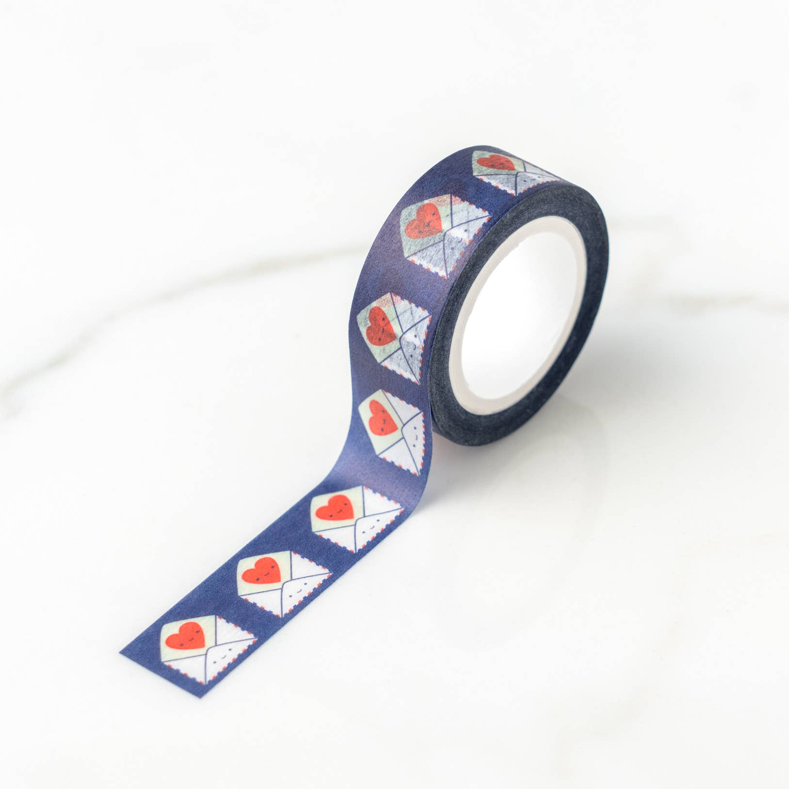 ilootpaperie send love washi tape, dark blue with white envelope and red heart motif