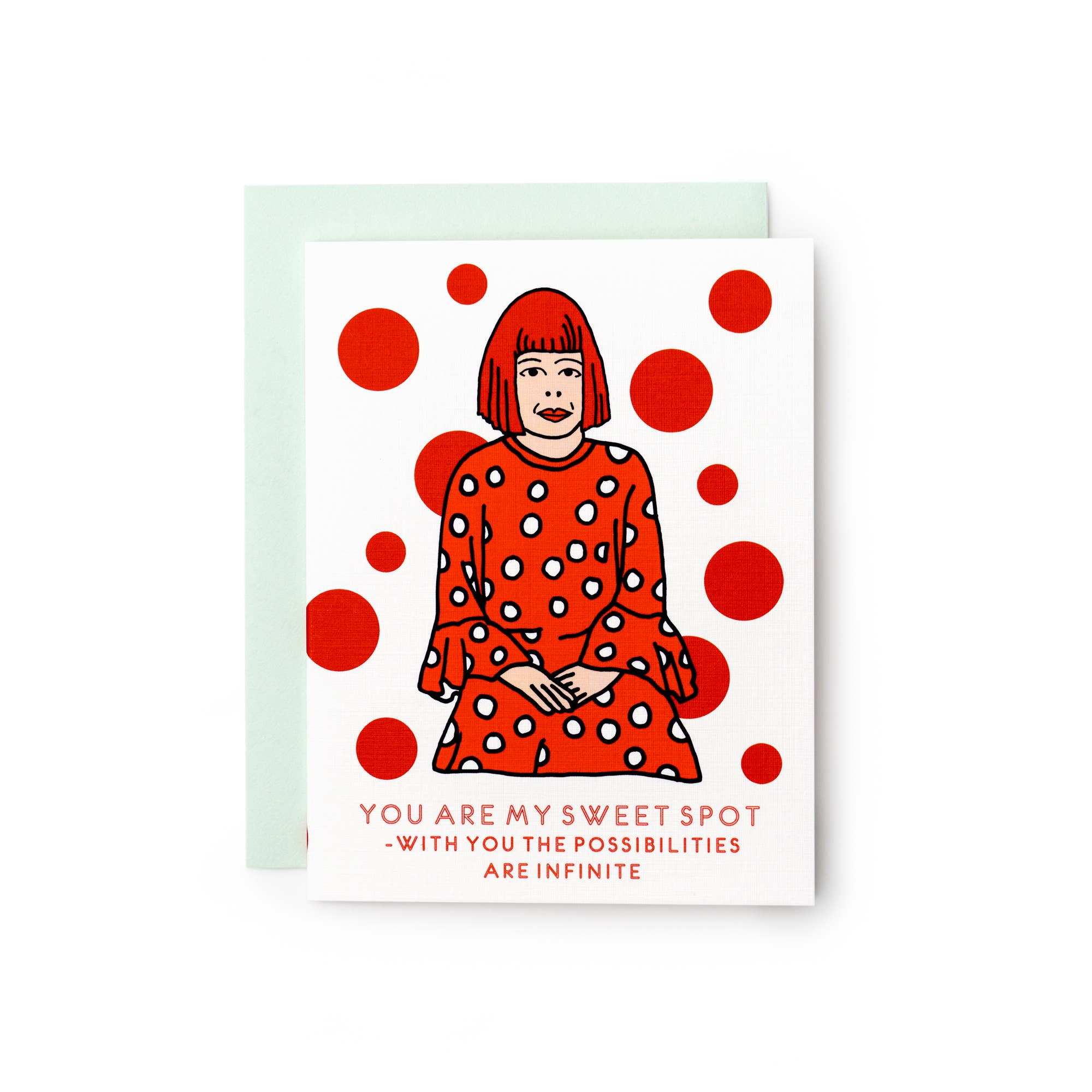 ilootpaperie card reads you are my sweet spot = with you the possibilities are infinite, features yayoi kusama and red polka dots