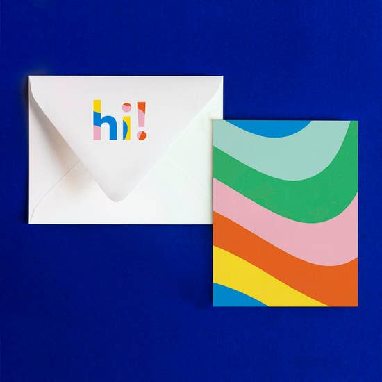 my darlin hi notevelope with hi on the envelope flat and matching rainbow wave flat card