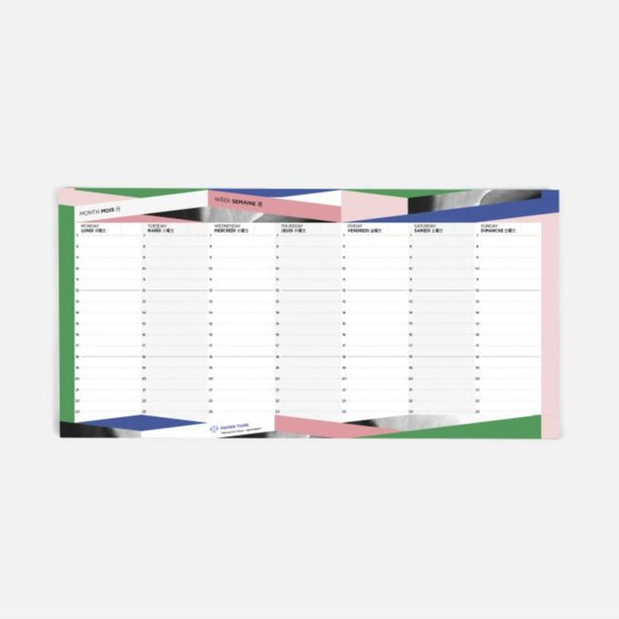 papier tigre stoneto weeky notepad pink blue green and grey geometric motif