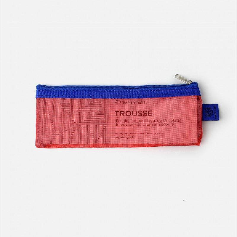 papier tigre red mesh blue zippered pencil case