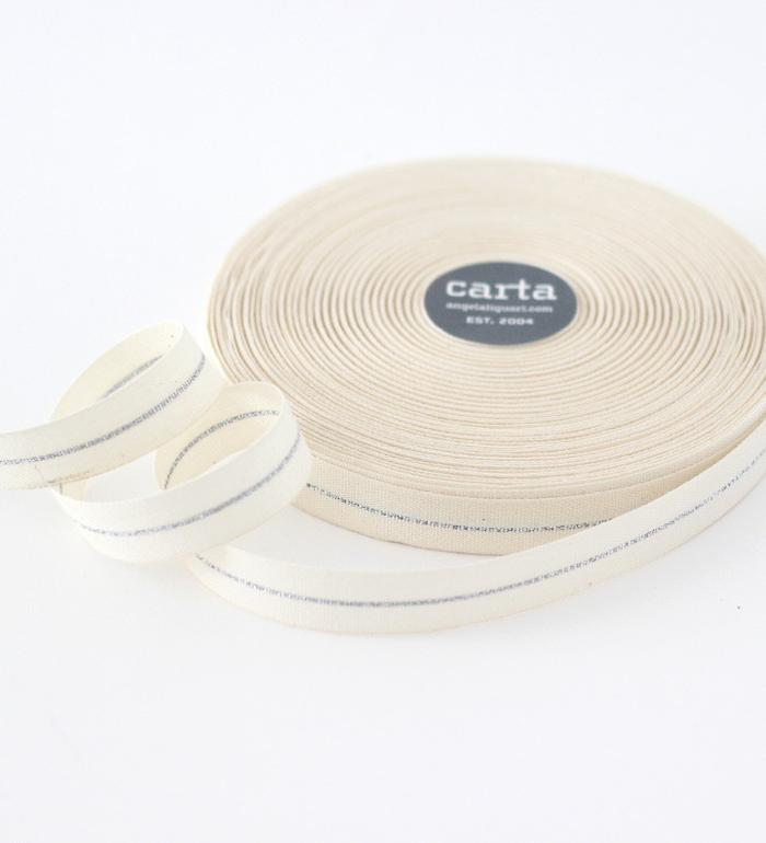 "5/8"" Metallic Line Cotton Ribbon - 1 Yard, Studio Carta"