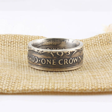 AUSTRALIAN STERLING SILVER CROWN COIN RING
