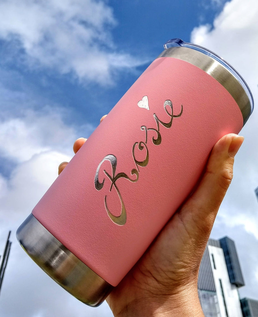 Personalised Reusable Insulated Travel Mugs - Engraved By Hand