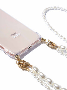 Phone case with double pearl cord