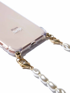 Phone case with short pearl cord
