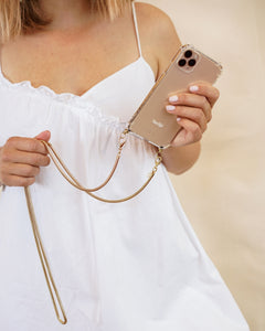 Phone case with gold cord