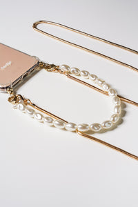 Phone case with gold cord and short pearl chain