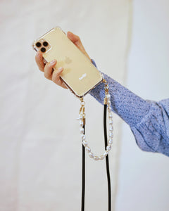 PRE-ORDER / Phone case with recycled black cord and short pearl chain