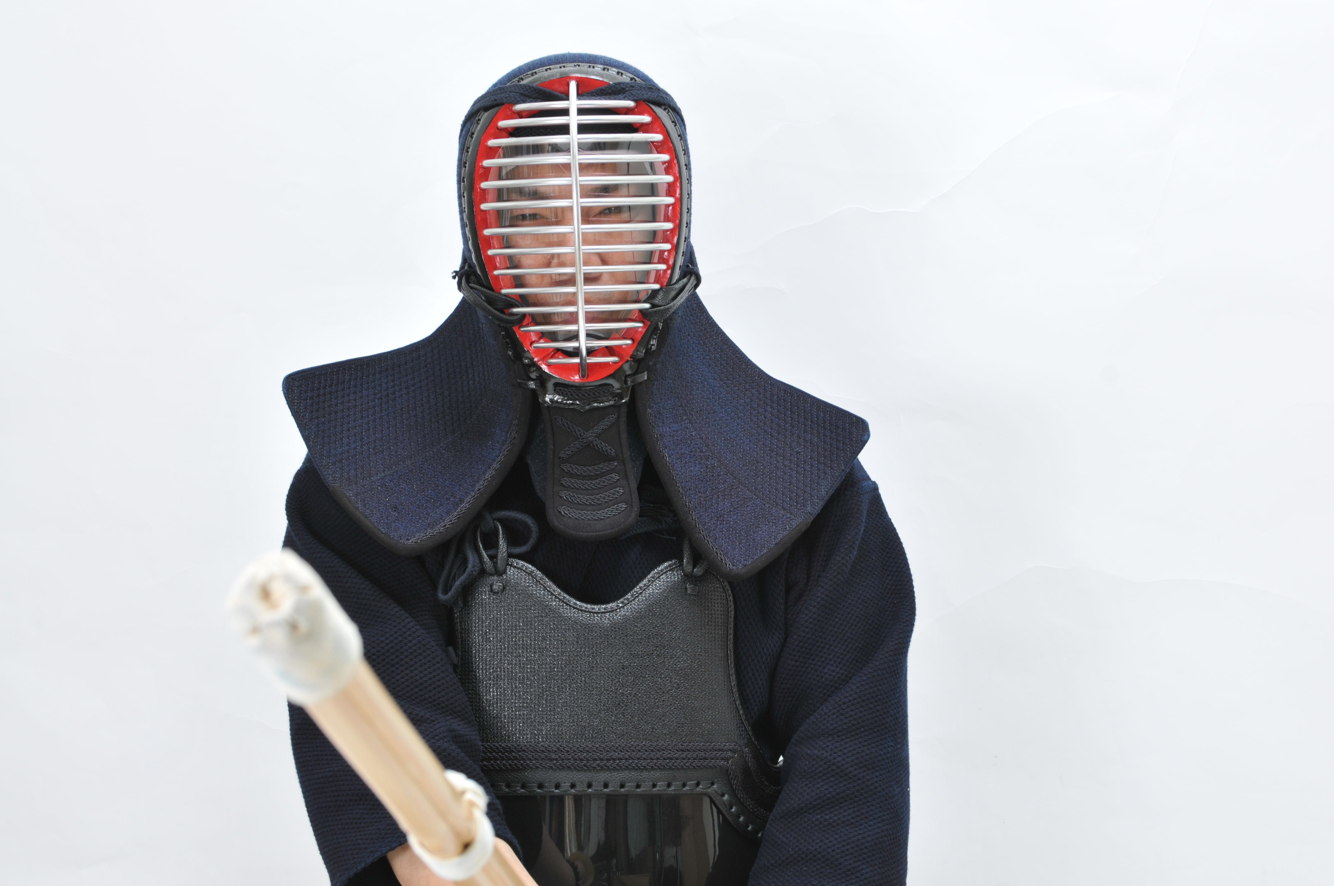 Kendo Men being worn with the Faceguard attached.