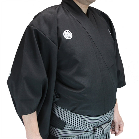Side view of the kimono Akatsuki dogi when worn.