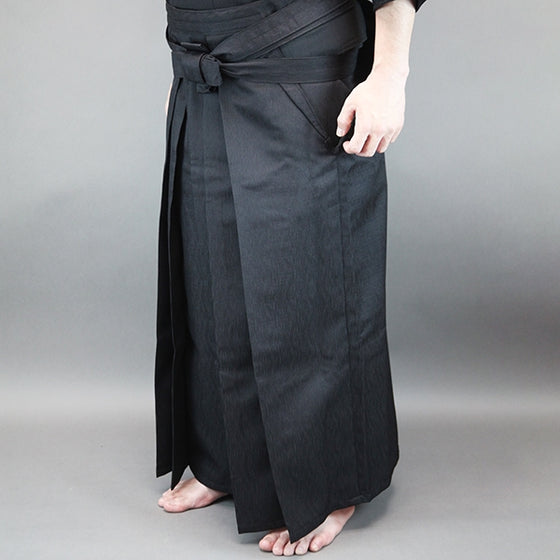 A pair of tailored iaido hakama when worn.