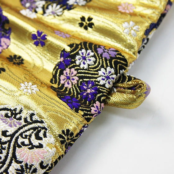 Close up of the hanawa brocade pattern.