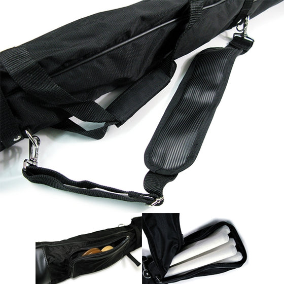 Close-up of the straps, pockets and zips of the bag.