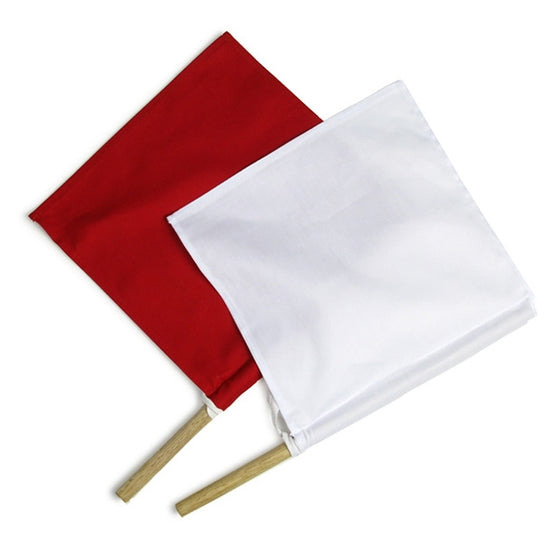 Full view of both flags, white on top of red.