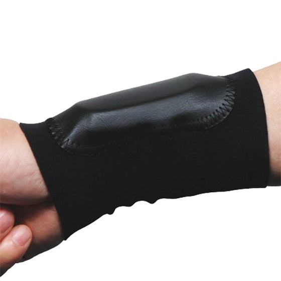 The wrist protector show when worn.
