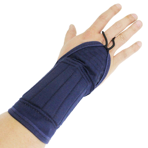 The wrist protector seen worn on the right hand and forearm.