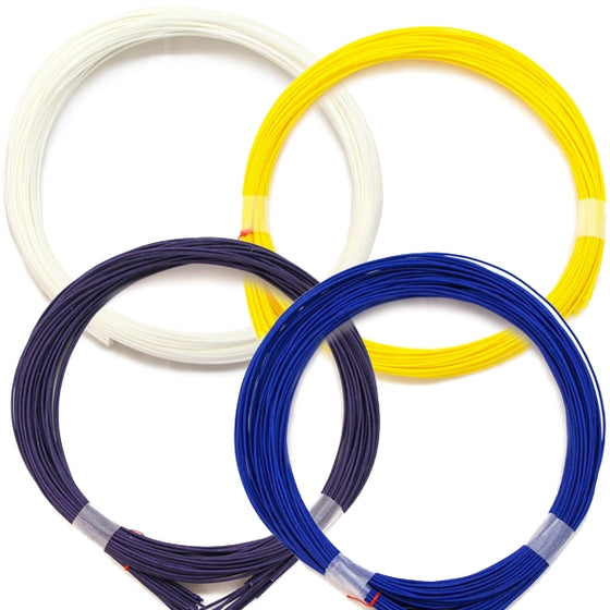 Close up of the white, yellow, purple and blue strings.