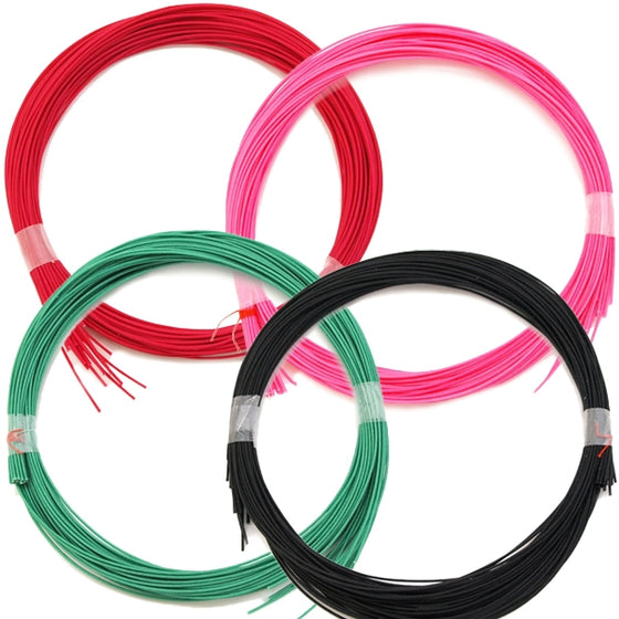 Close-up of the red, pink, green and black strings.