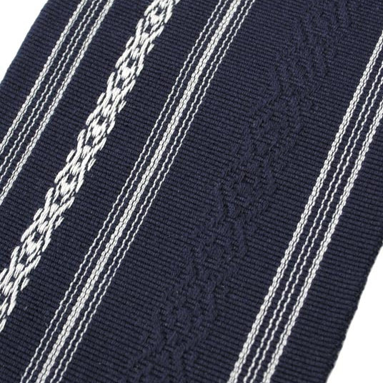 Close-up of the navy fabric.