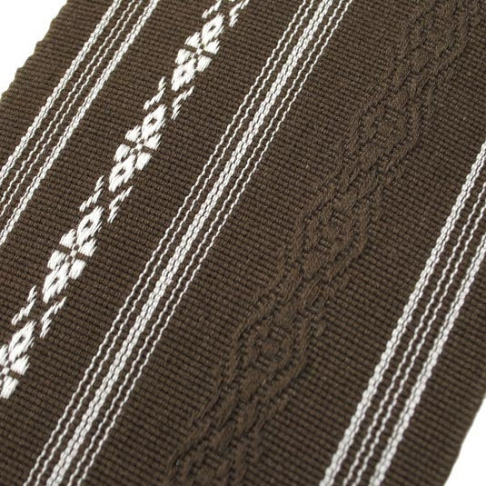 Close-up of the detailing on the brown obi.