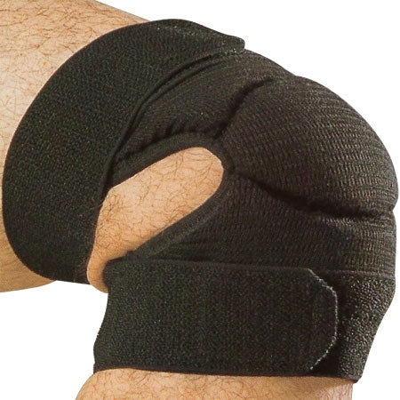 Full view of the black knee protector.