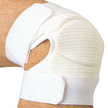 Full view of the white variation of the knee protector.