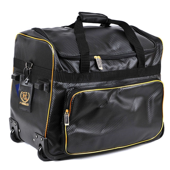 Full view of the gold trim carrier bag.