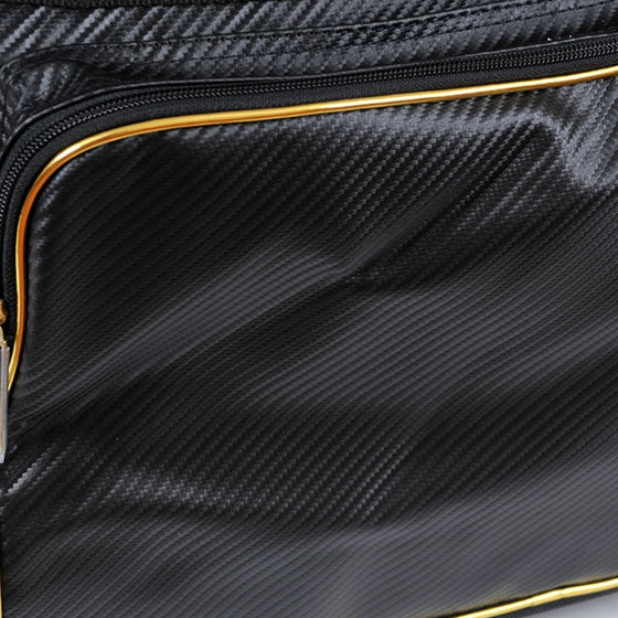Close-up of the techno leather and gold trim.